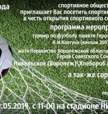 Воронежцев приглашают на спортивный праздник в микрорайоне Никольское